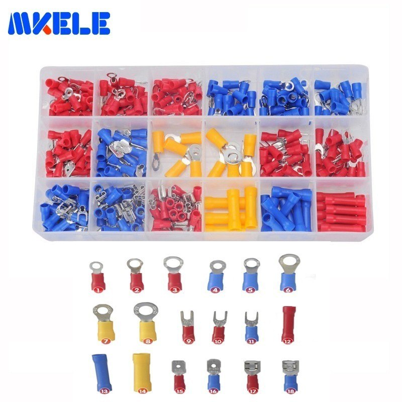 Connector Vinyl-Insulated. 9 Types Ring Crimp Wire Terminal Assortment Kit